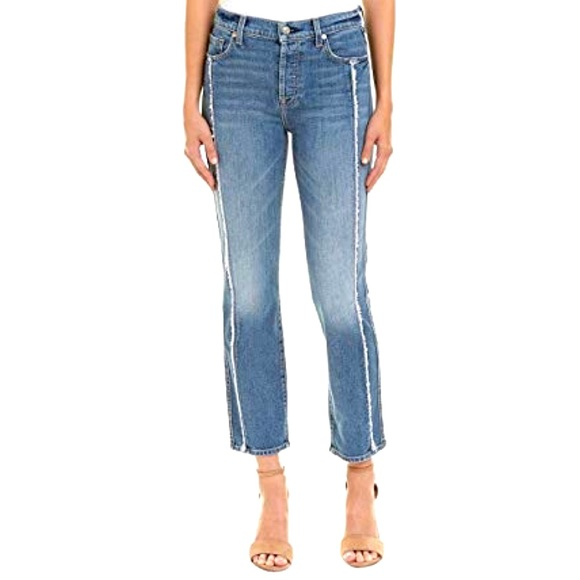 7 For All Mankind Denim - 7 for All Mankind Frayed Crop Straight Leg Jeans